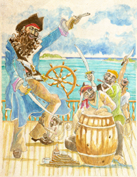 Illustration of Pirate in ship